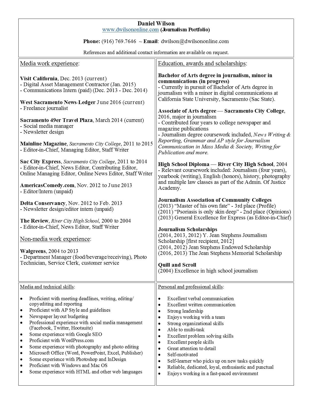 resume daniel wilson